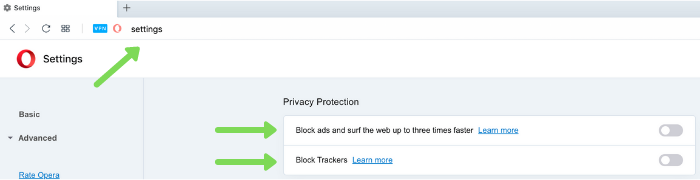 opera vpn privacy features