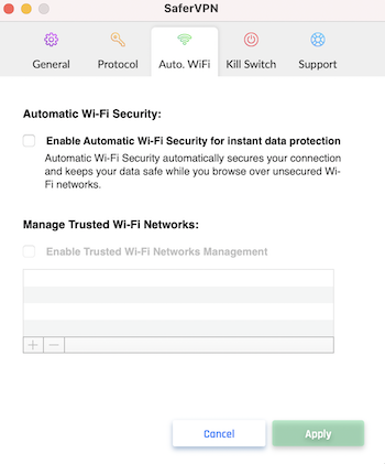 SaferVPN automatic wifi protection